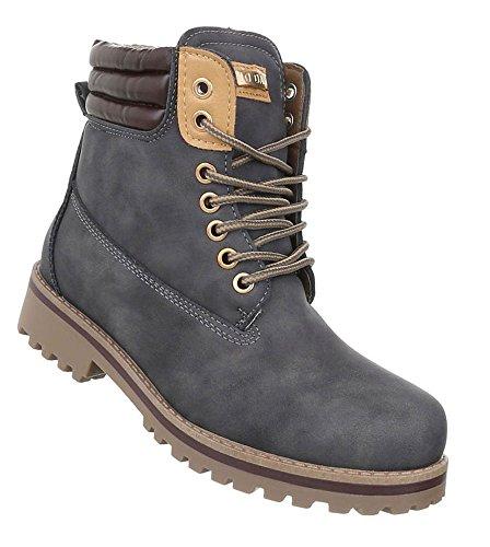 Damen Herren Unisex | leicht Gefütterte Stiefeletten | Outdoor Worker Boots | Profilsohle Winterschuhe | Schnürstiefel Outdoor |Übergang Schuhe Übergrößen | Schuhcity24 Grau