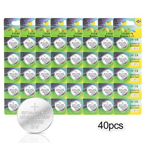 【40 Pack】Pile a Bottone CR2032 IDESION Batteria 3V 240mAh Per LED luci, Telecomando, E-Book, Fotocamera, Orologi ect