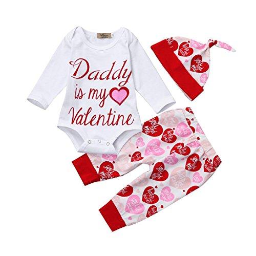 autyTop 3pcs Neugeborenen Baby Mädchen Valentinstag Kleidung Brief Gedruckt Strampler Bluse T-shirt Tops + Herz Gedruckt Hosen + Hut Outfit Set (Weiß + Rot, 90/6-12 Monate) (Schulbedarf Billig)