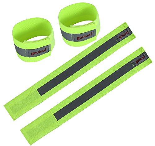 Reflektor Laufausrüstung – Kann als Armband oder Knöchelband oder Handgelenkband verwendet werden – Das Set bestehend aus zwei (ein Paar) reflektierenden Streifen für erhöhte Sichtbarkeit - Govivo