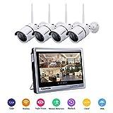 floureon Système de Sécurité sans Fil 1080P Système de Caméra de Sécurité 4CH NVR Enregistreur Vidéo Caméra WiFi avec 12 Pouce LCD Moniteur sans Fil + 4 Caméras sans Fil Étanche 720P Vision Nocturne