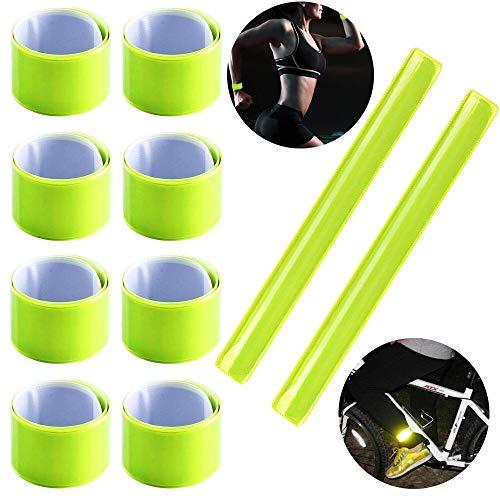 KINDPMA Reflektorband 10pcs Reflektorbänder Schnapparmbänder Klatscharmband Reflektierend Sicherheitsbänder Reflektoren Armband für Fahrrad Kinderwagen Joggen Kinder Mitgebsel, 30 * 3cm