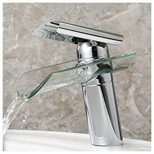 Wasserfall Wasserhahn Glas Spüle Waschbeckenarmatur Für Badzimmer Waschbecken Einhebel- Mischbatterie Kaltes Und Heißes Wasser Vorhanden,Messing