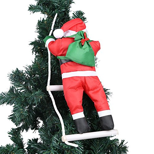 One santa claus climbing della scala di corda per albero di natale per interni ed esterni appeso ornamento decorazione di natale xmas party casa porta decorazione da parete