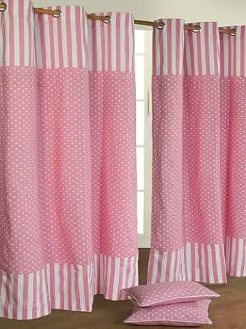 Homescapes Kindervorhang Mädchen Kinderzimmer Ösenvorhang Dekoschal Polka Dots 2er Set rosa weiß 117 x 137 cm (Breite x Länge je Vorhang) 100% reine