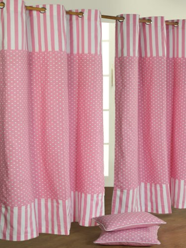 Homescapes par de cortinas todo hechos 100% algodón–de lunares–Rosa–& # x152; illets en alto–pesado no Doublé–, cuidado fácil,–lavable en casa, algodón, Rose, 117 x 137 cm
