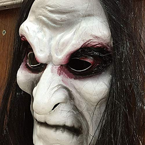 JYYC Scary Black Lange Haare Blooding Geistermaske Cosplay Halloween Kostüme Party Prop