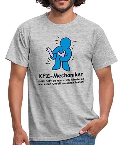 Spreadshirt KFZ-Mechaniker Männer T-Shirt, M, Grau meliert