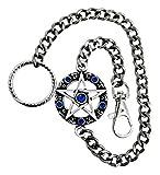 Pentagramm blau Gothic Hosenkette Metall Gürtel Kette