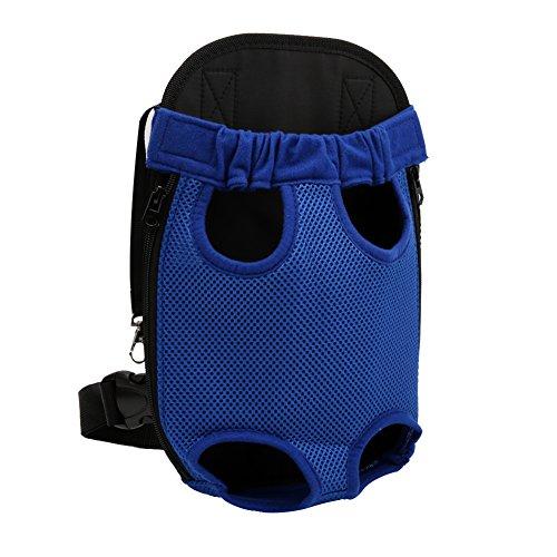 YOUJIA Mochila Bolsa para Perro Gato Mascota, Bolsa de Transporte con Gancho y Correa Ajustable Azul, XL (41*24cm)