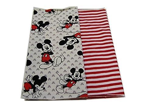PINIDI DIY Nähset Loop - Schal - Schlauchschal /Jersey Mickey Mouse Motive rot schwarz / Jersey rot-weiß gestreift / inkl. Anleitung / 60cm