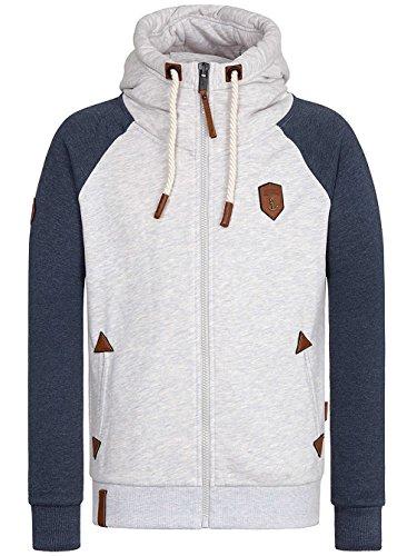 Naketano Male Zipped Jacket Fucking for Freedom III amazing grey/indigo blue