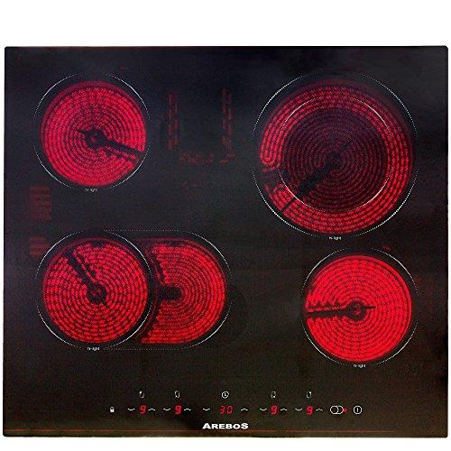 Arebos Glaskeramikkochfeld 4 Zonen mit Dual-Kochzone und Bräterzone (Sensor-Touch-Display, Autark, 9 Temperaturstufen, integrierter Timer, Einbaumaße: 56 x 49 cm)