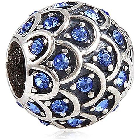Sparkling Soulbead pesce, cristalli, con ciondolo in argento Sterling 925 per braccialetto europea Sapphire Crystal - Sapphire Pesce