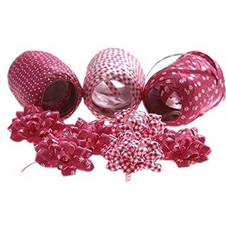 autooptimierer.de Premium Ringelband Schleifen Set Bunt 3 Bänder für Geschenke 6 Rosetten Schleifen Fertigschleifen Geschenkbänder (Pink)