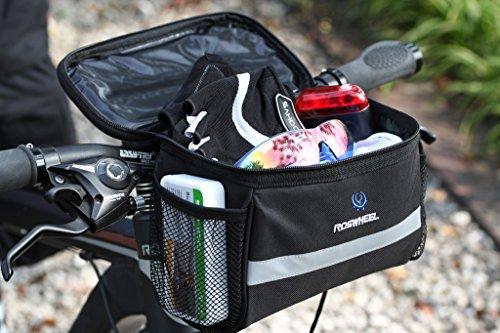 Tofern Fahrrad Lenkertasche für Rennrad Mountainbike Klappfahrrad mit Seitentaschen PVC Touchscreen Tasche Reflektierenden Streifen oder Logo Handy beim Radfahren Bedienbar Schwarz Quadratisch