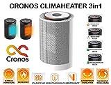 CRONOS CLIMAHEATER Mini Keramik Heizlüfter, Ventilator und Klimaanlage 3in1 - Thermostat, Umkippschutz, Überhitzungsschutz - 1200W - Heizgerät Baby Heizkörper - für Badezimmer Bad Wickeltisch - Weiss