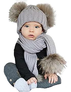Wawer Cute Baby Winter Set Netter Hut Schal Warm halten für 0-36 Monate (Grau A)