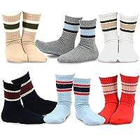 TeeHee Kids Boys Basic Stripe Cotton Crew Socks 6 Pair Pack (3-5Y, Sport Rib Stripe)