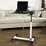 Sobuy mesa auxiliar con ruedas, mesas de centro, mesas para portatiles, mesitas de noche, Altura ajustable, FBT07N5,ES