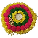 Handicraft Designer Tlite Candle Diya Peacock Pompom And Rose Decor (20 Cm X 1 Cm X 20 Cm)