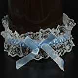 German-Trendseller ® Strumpfband EXKLUSIV mit Spitze blau für Hochzeit NEU