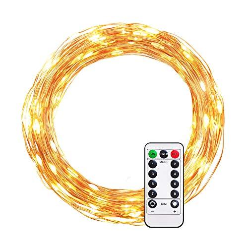 Ulwae catene luminose, stringhe di luci da 10 m con 100 led, filo di rame flessibile, alimentata da batterie, utilizzata per la festa, il matrimonio