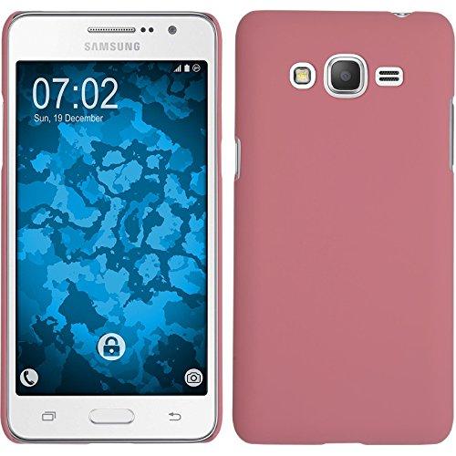 PhoneNatic Case kompatibel mit Samsung Galaxy Grand Prime Plus - Hülle rosa gummiert Hard-case + 2 Schutzfolien