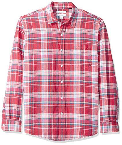 Amazon Essentials Regular-Fit Long-Sleeve Print Linen button-down-shirts, Red Plaid, US L (EU L)