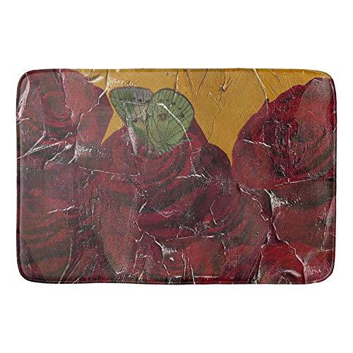 Mei-ltd Vintage Roses Oil Pallete Texture Non-Slip Bath Mat Doormat Coral Fleece Kitchen Floor Rug Front Door Mat Funny Flannel Carpet 23.6