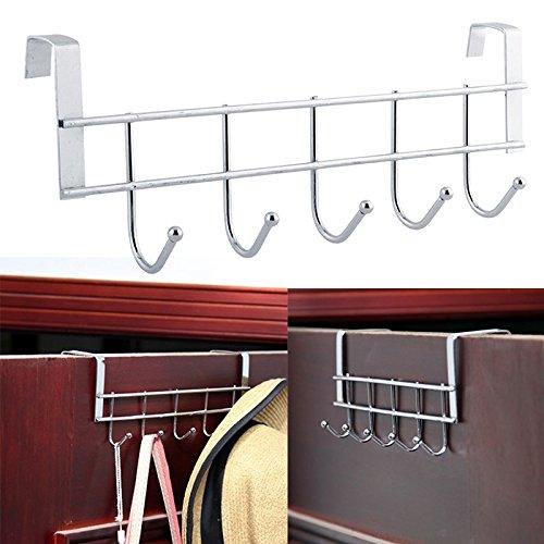 5 Haken Edelstahl Türhängeleiste Kleiderhaken für Hut Handtuch