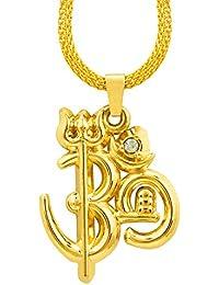 Shining Jewel Mahadev Om Trishul Shiva Gold Unisex Pendant (SJ_2165)