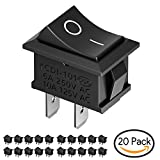 Interruptores para Coche, MiMoo 20pcs Interruptor Coche Rocker Interruptor 10A / 125V, 6A / 250V SPST On/Off Auto Boton Interruptor Rocker Switch