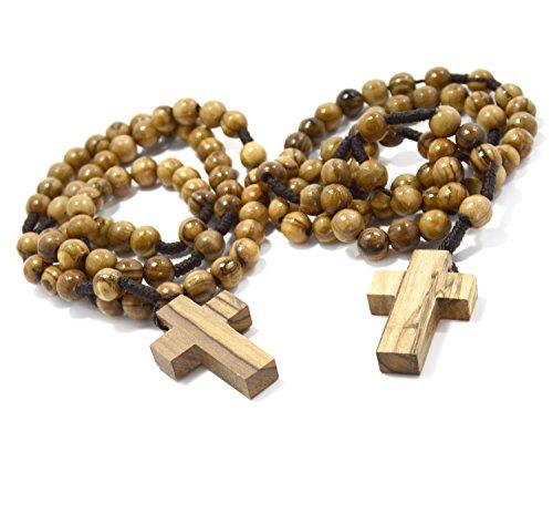 Olivenholz katholische authentische Olivenholz katholische Rosenkranz Perlen Halskette aus Bethlehem in natürlichen Baumwollbeutel (zwei Stücke) (Rosenkranz Den)