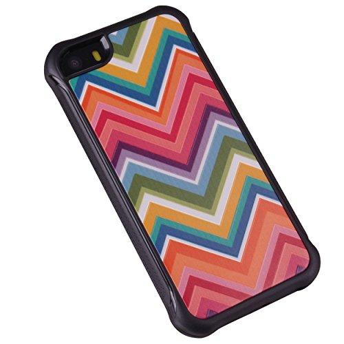 iPhone 55S case, True Color® rilievo stampato resistente agli urti TPU protettiva antiscivolo grip snap-on morbido robusto cover per iPhone 55S [True Impact Series] + pennino e pellicola protettiva  Colorful Rainbow Chevron