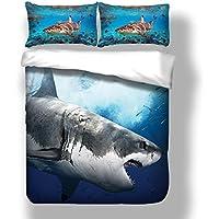 GroBartig Stillshine Bettwäsche 3D Hai Kreativ Persönlichkeit Druckmuster Blau  Bettbezug Und Kissenbezug, Einzelbett Bettwäscheset 135x200cm