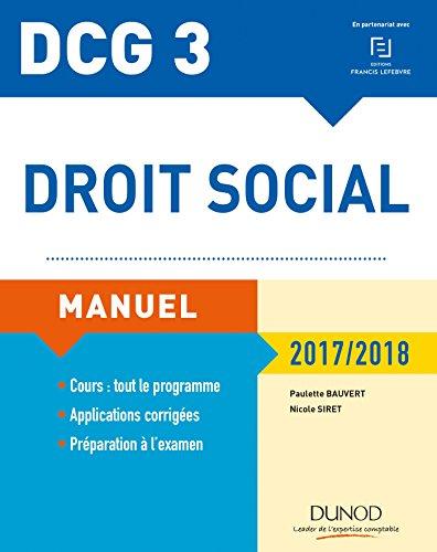 DCG 3 - Droit social 2017/2018 - 11e d. : Manuel