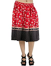 Fashion Parakeet | Flared Skirt | Red with White Floral Print