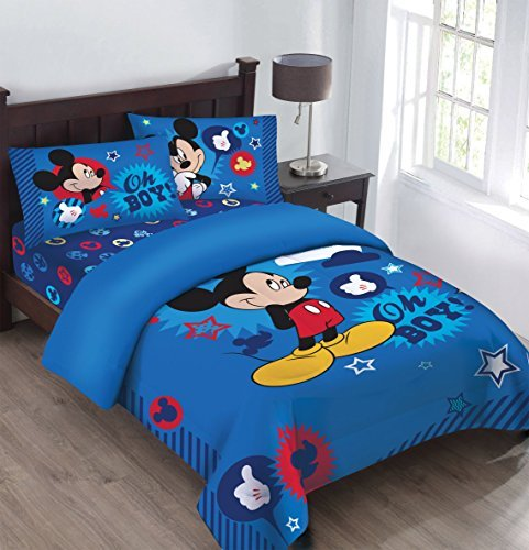 Disney Mickey Oh Boy! Gosh Licensed Full Comforter Set w/Fitted Sheet by Disney