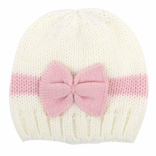 Kuyou Baby Kids Winter Mütze Neugeboren Jungen Mädchen Strickmütze Beanie (Weiß)