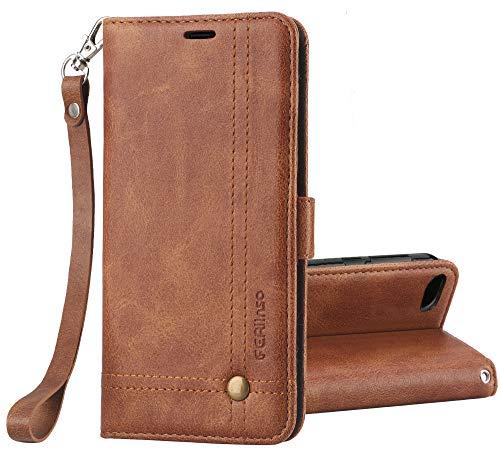 Ferilinso Xiaomi Redmi 6A Hülle, Elegantes Retro Leder mit Identifikation Kreditkarte Schlitz Halter Schlag Abdeckungs Standplatz magnetischer Verschluss Kasten für Xiaomi Redmi 6A (Braun)