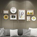 DZW Foto Wand Massivholz Modern Einfach Wandgemälde Kunst Gemälde 8 Kombination Restaurant Sofa Wohnzimmer Hintergrund Wand Dekorative Gemälde 206 * 90 cm, b,Leicht zu bedienen