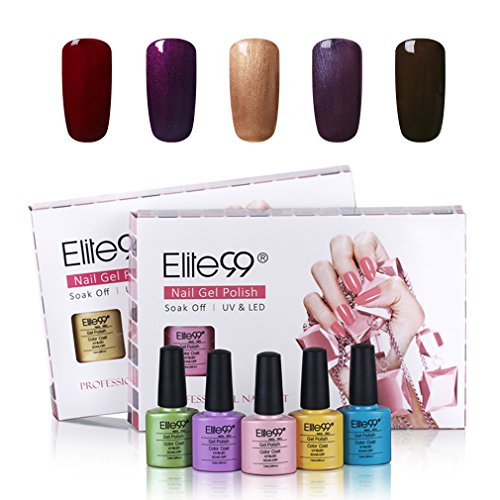 Elite99 UV LED Nagellack set UV Gel shellac set sock off gel peer off nagellack UV farbgel gel nägel Nail Art polish Gelish 5x7.3ml (Harmony Gel-glitter)