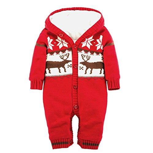 Winter Baby Hoodie Jumpsuit,Doubleer Baby Weihnachten Bodysuit festlich Kostüm für 0-18 Monate