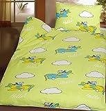 Baby Kinder Biber Baumwoll Bettwäsche 100 x 135 + 40x60 cm, gelbgrün, Flugzeug, 100% Baumwolle, für Kinderbett (42013)