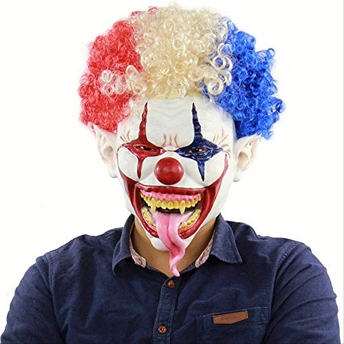 Movie Batman The Dark Knight Cosplay Horror Scary Clown Maske Mit Wig Halloween Latex Maske Party Kostüm ()