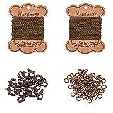 PandaHall Elite Kit para collar DIY con 2 hojas cadena trenzada hierro 100pcs 4mm anilllo abierto 20pcs cierre de langosta de latón para Bricolaje bisutería Bronce Antiguo accesorios para joyas