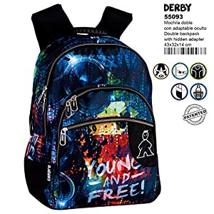 Montichelvo Montichelvo Double Backpack A.O. CMP Derby Bolsa Escolar, 43 cm, (Multicolour)
