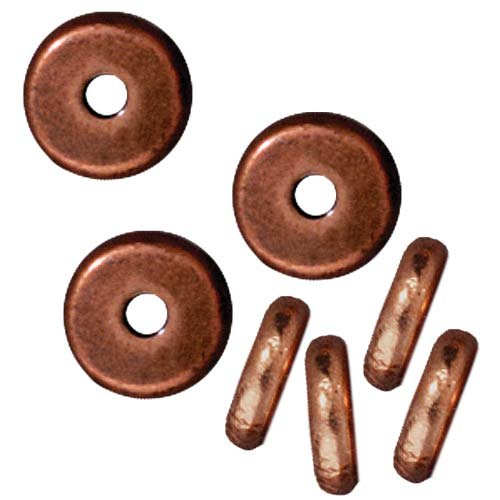 Copper Plated Lead-Free Pewter Disk Heishi Spacer Beads 6mm (10) -