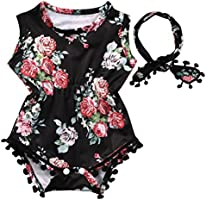 YanHoo Newborn Sunsuit Clothes Set, Infant Toddler Baby Girls Floral Romper Jumpsuit
